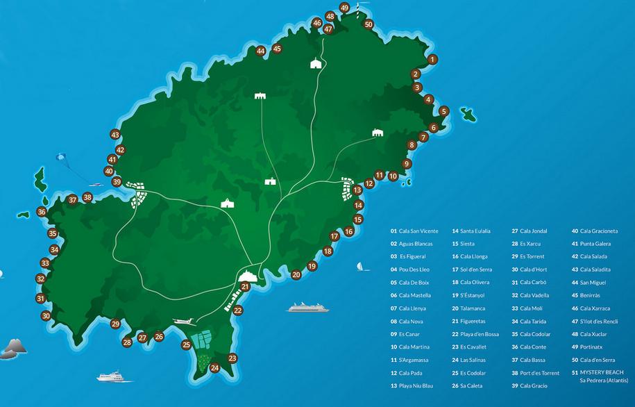 mapa de playas en ibiza islas baleares